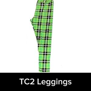 LuLaRoe green plaid TC2 leggings